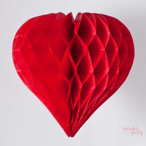 Corazón nido de abeja rojo