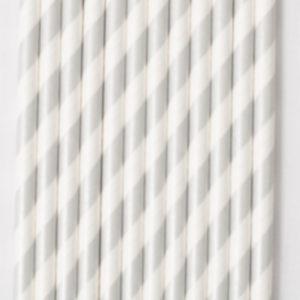 25 pajitas blanca y plata