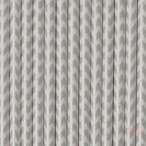 Pajitas de papel chevron plata