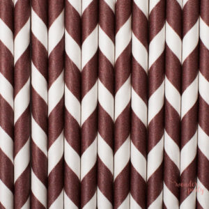 Pajitas de papel chevron marrón
