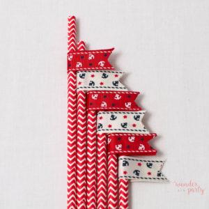 6 pajitas chevron rojo con banderín navy para fiestas