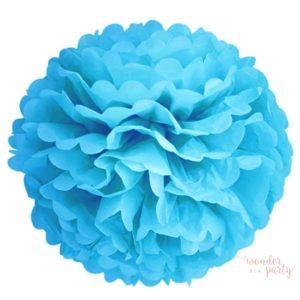 Mini pompón papel de seda turquesa