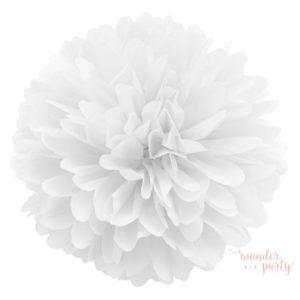 Mini pompón papel de seda blanco