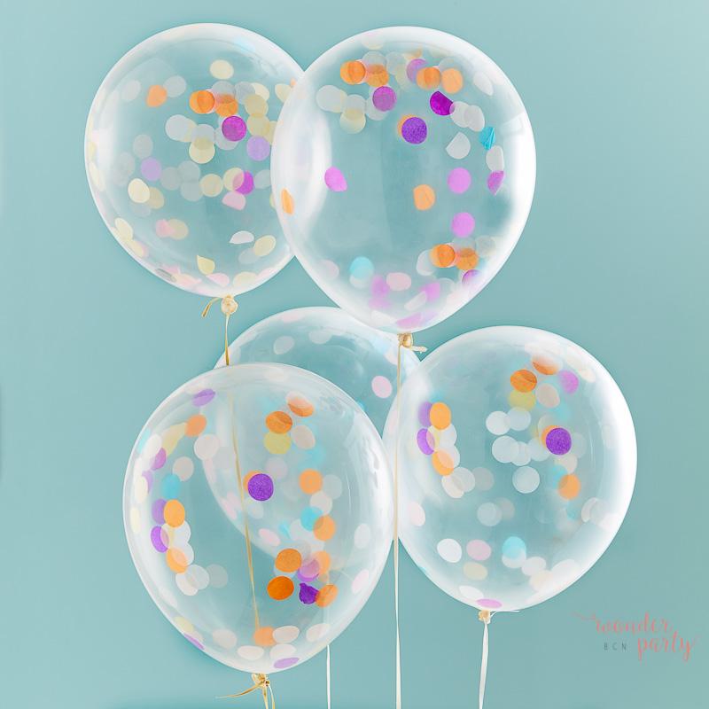 globos transparentes con confetti multicolor wonder
