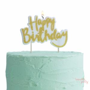 Vela Happy Birthday dorada