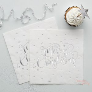 Servilletas de papel Merry Christmas plateadas Wonder Party Bcn