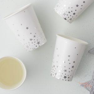 Vasos de papel estrellas plateadas