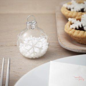 Marca sitios o bola navidad cristal con nieve dentro Wonder Party Bcn