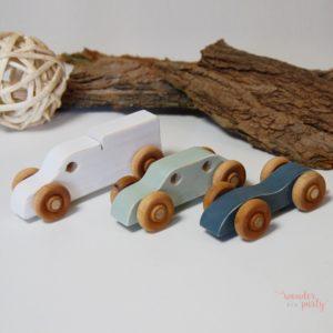 Set de 3 coches madera estilo vintage hechos a mano Wonder Party Bcn