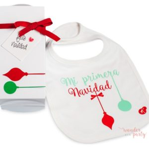 Babero cajita regalo Mi Primera Navidad