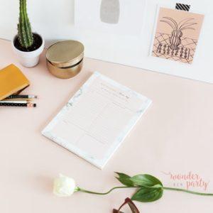 Planificador diario gold mármol para escritorio Wonder Party Bcn