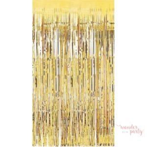 Cortina de foil flecos dorada photocall para fiestas Wonder Party Barcelona