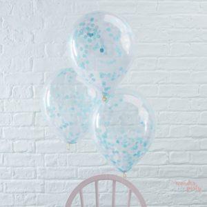 Globos transparentes con confetti azul claro látex Wonder Party Barcelona