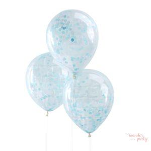 Globos transparentes con confetti azul claro