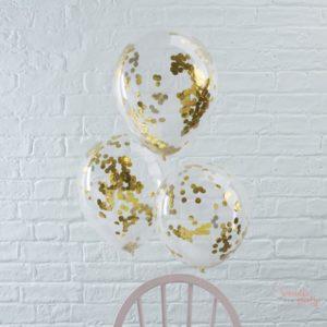 Globos transparentes de latex con confetti dorado Wonder Party Bcn