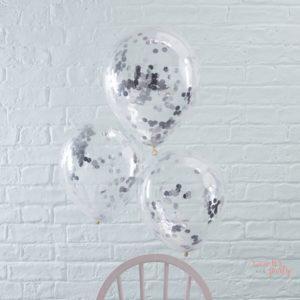Globos transparentes con confetti plateado color plata Wonder Party Barcelona