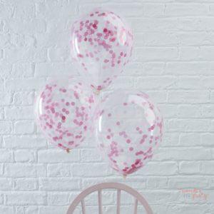Globos transparentes con confetti rosa látex Wonder Party Barcelona