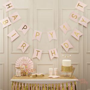 Guirnalda Happy 1st Birthday rosa y dorado para fiestas banderín Wonder Party Barcelona