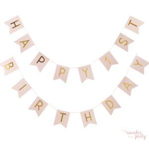 Guirnalda Happy 1st Birthday rosa y dorado