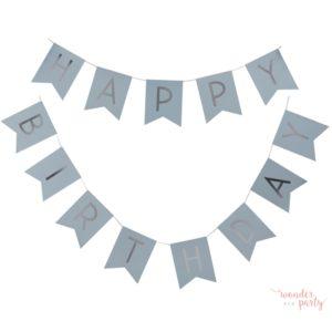 Guirnalda Happy Birthday celeste y plata