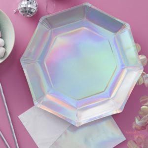 Platos de papel iridiscentes arcoíris tornasolado para fiestas Wonder Party Barcelona