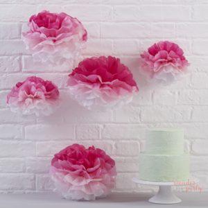 Pompones de papel ombre rosa papel de seda fiestas Wonder Party Barcelona
