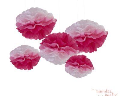 Pompones de papel ombre rosa