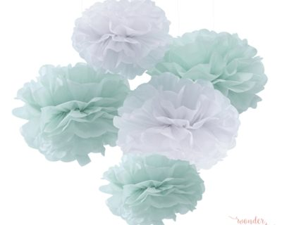 Pompones de papel verde mint y blanco