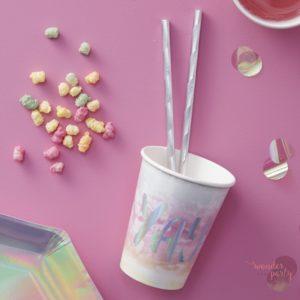 Vasos de papel iridiscentes arcoíris para fiestas Wonder Party Barcelona