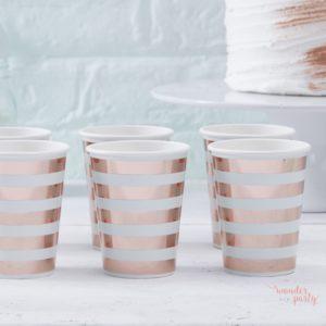 Vasos de papel verde mint y rose gold