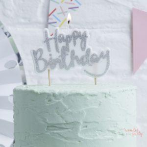 Vela Happy Birthday plateada cumpleaños color plata WonderParty barcelona