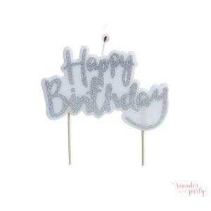 Vela Happy Birthday plateada