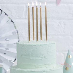 Velas altas doradas pasteles cumpleaños Wonder Party Barcelona