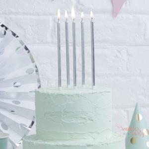 Velas altas plateadas color plata pasteles cumpleaños Wonder party barcelona