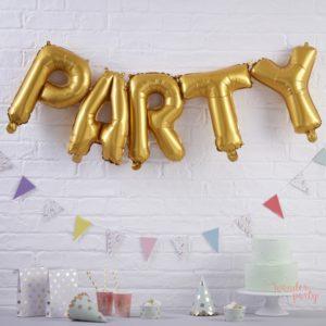 Globos PARTY foil dorado metálico para fiestas WonderParty barcelona