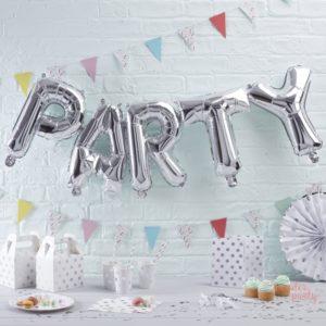 Globos PARTY foil plateado metálico para fiestas Wonder Party barcelona