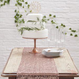 Camino de mesa lentejuelas oro rosa para bodas decoración mantel