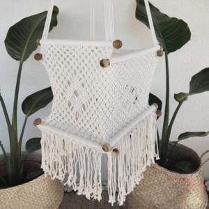 Hamaca columpio de crochet blanca para niños y bebes ganchillo handmade Wonder Party Barcelona