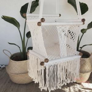 Hamaca columpio de crochet blanca