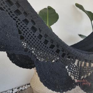 Hamaca hecha en crochet negro ganchillo hecho a mano ecofriendly Wonder Party Barcelona
