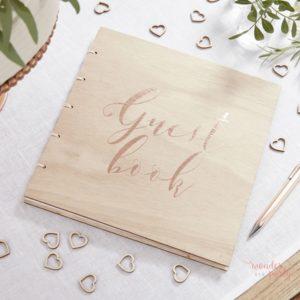 Libro de firmas tapas de madera oro rosa rose gold Wonder Party Barcelona