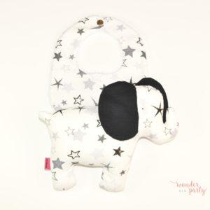 Set elefante de tela y babero estrellas