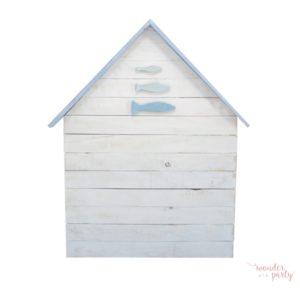 Cabecero casita en madera peces y tejado celeste