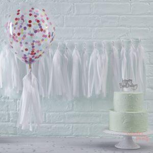 Guirnalda Tassel flecos de papel de seda blanco para fiestas globos o decorar habitaciones Wonder Party barcelona organizacion de fiestas