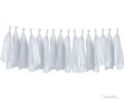 Guirnalda Tassel flecos de papel de seda blanco