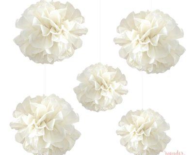 Set de pompones de papel ivory