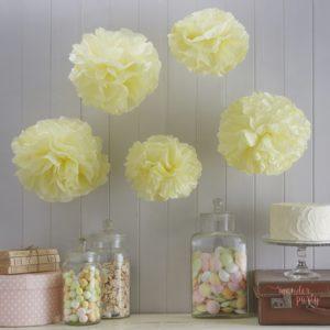 Set de pompones de papel amarillo pastel