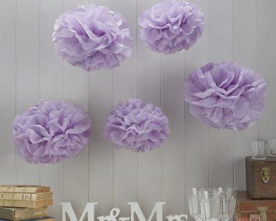 Set de pompones de papel lila