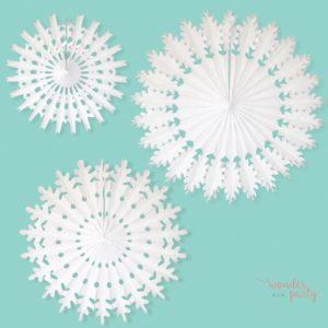 Set de 3 abanicos copo de nieve