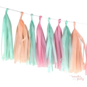 Guirnalda Tassel flecos de papel de seda tonos pastel